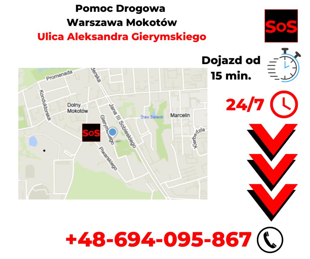Pomoc drogowa ul. Aleksandra Gierymskiego