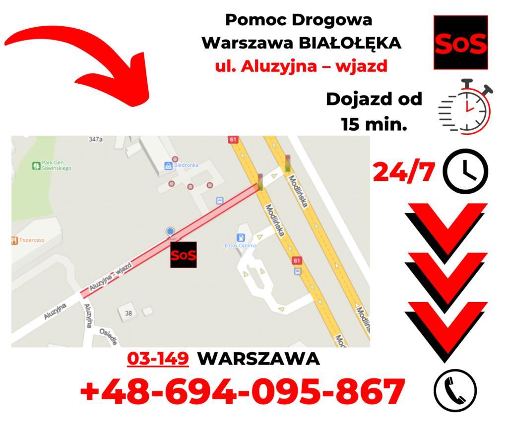 Pomoc drogowa ul. Aluzyjna – wjazd