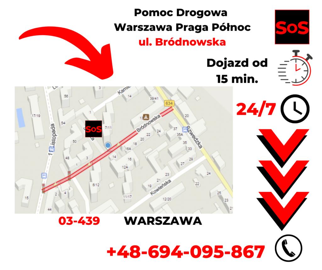 Pomoc drogowa ul. Bródnowska