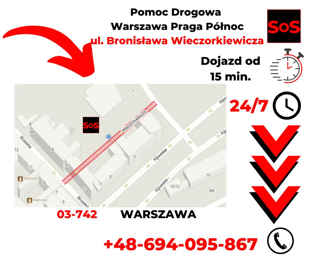 Pomoc drogowa ul. Bronisława Wieczorkiewicza