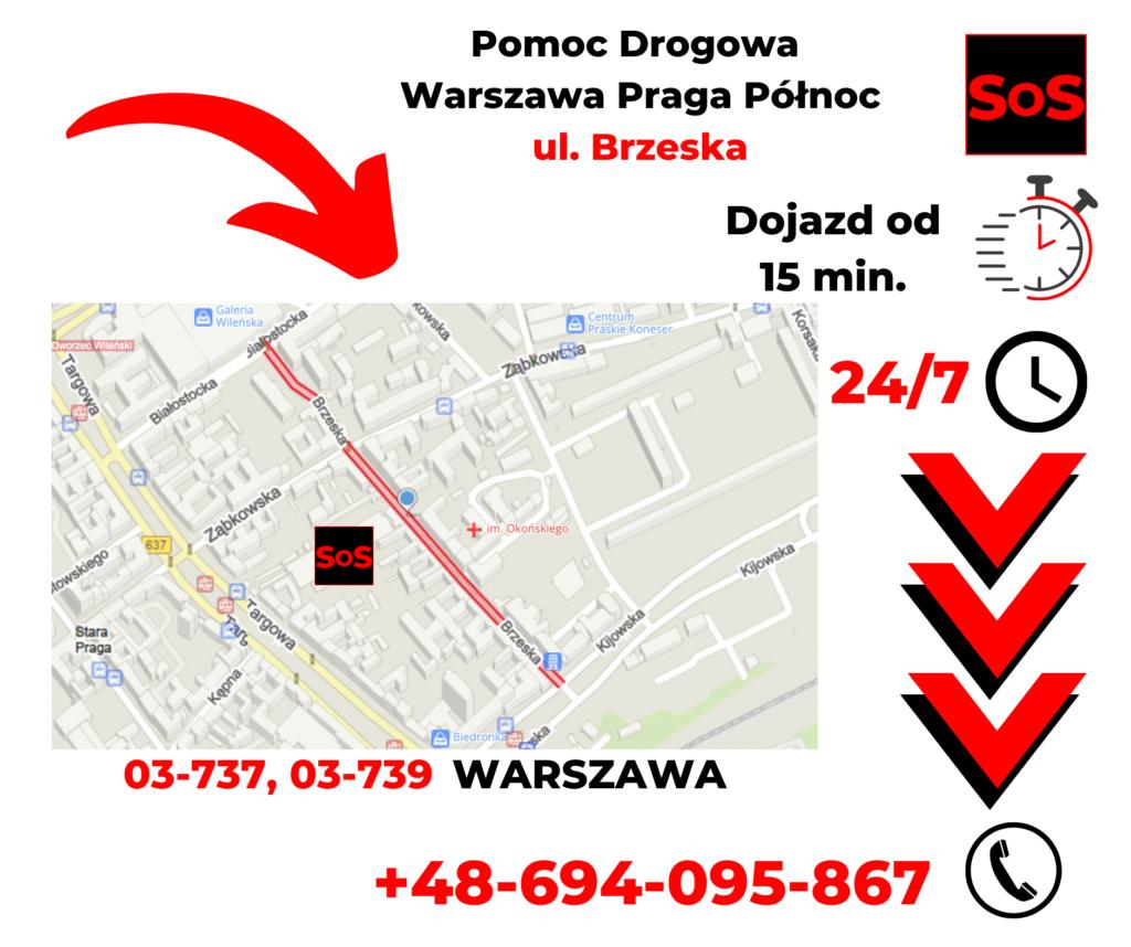 Pomoc drogowa ul. Brzeska