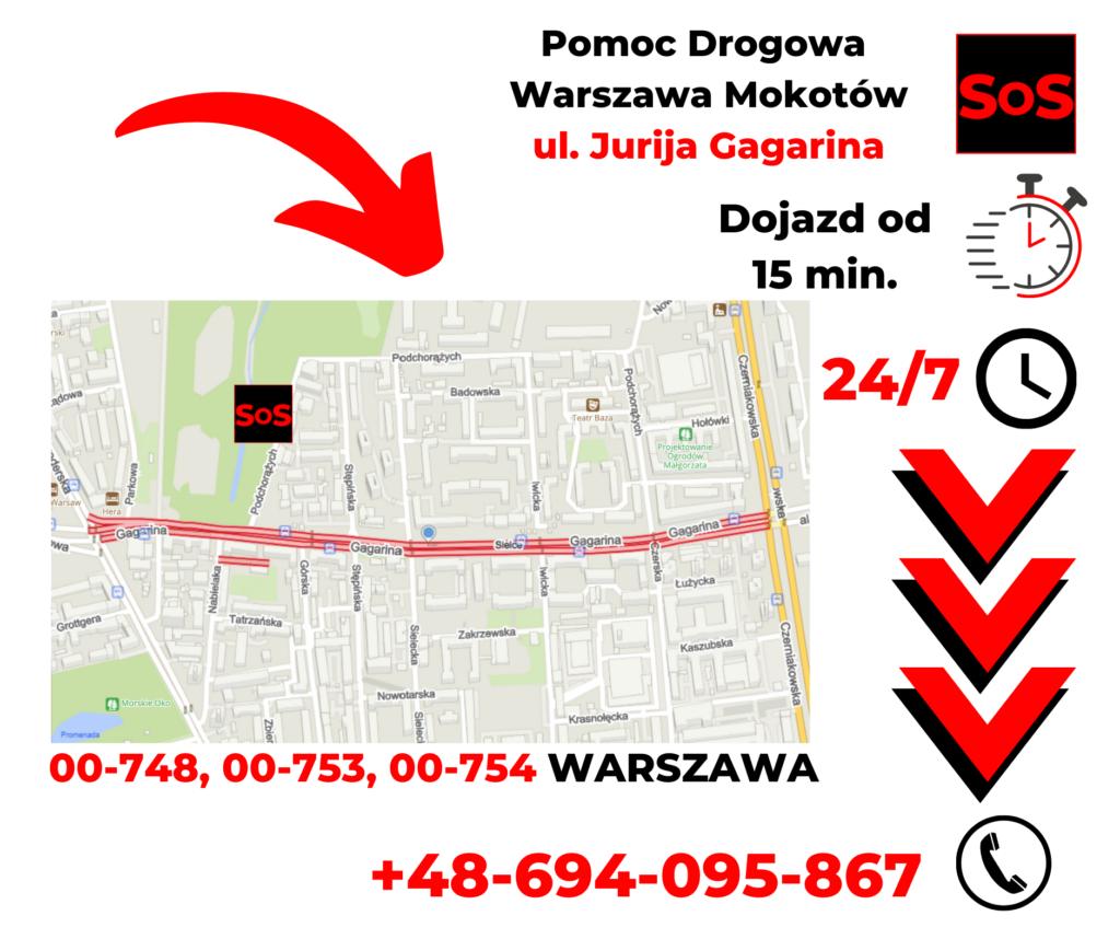Pomoc drogowa Warszawa ul. Jurija Gagarina