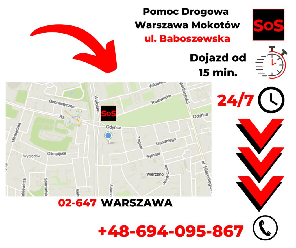 Pomoc drogowa ul. Baboszewska